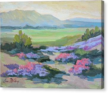 Canvas Print featuring the painting Desert Verbena 1 by Diane McClary