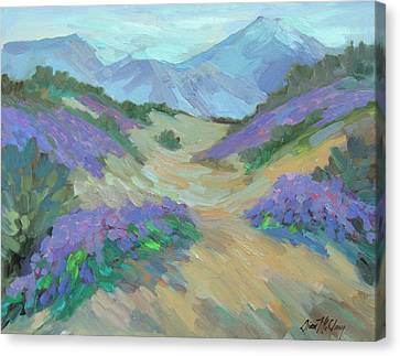Canvas Print featuring the painting Desert Verbena by Diane McClary