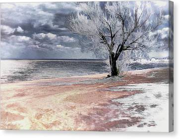 Canvas Print featuring the digital art Deserted Beach by Pennie  McCracken