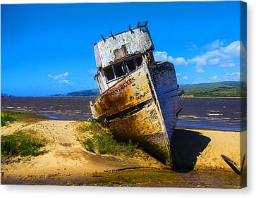 Deserted Beached Boat Canvas Print by Garry Gay