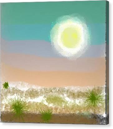 Canvas Print featuring the digital art Desert.night.moon by Dr Loifer Vladimir
