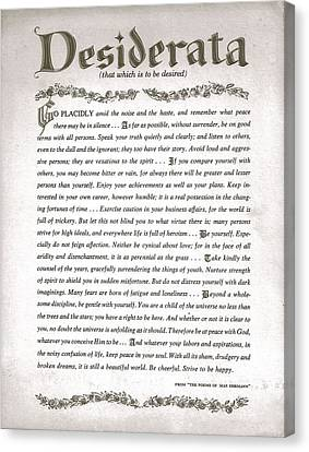Desiderata 3 Canvas Print by Desiderata Gallery