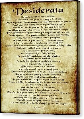 Desiderata - Antique Parchment Canvas Print