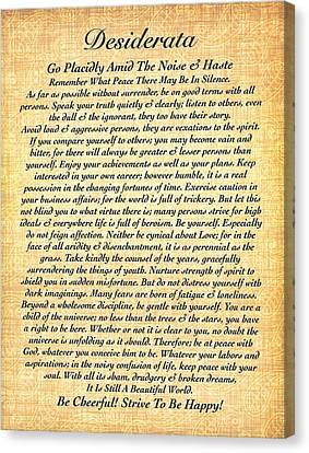 The Universe Canvas Print - Desiderata By Max Ehrmann On Fossil Paper by Desiderata Gallery