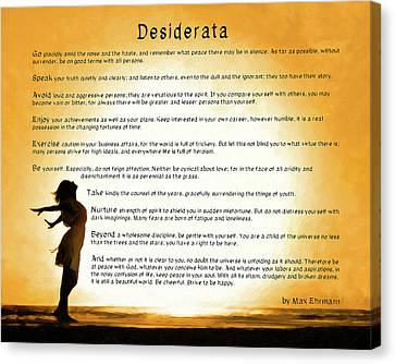 Desiderata - Child Of The Universe Canvas Print