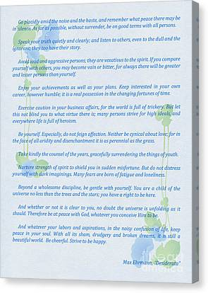 Desiderata In Blue Canvas Print by Olga Hamilton