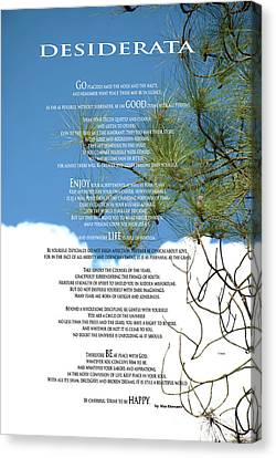 Desiderata Poem Over Sky With Clouds And Tree Branches Canvas Print by Claudia Ellis