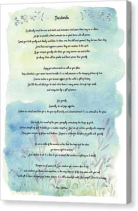 The Universe Canvas Print - Desiderata Watercolor Floral Blue by Terry DeLuco