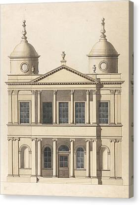 Design For A Church. Elevation Of West Front Canvas Print by Paul Sandby