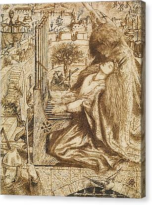 Design For Moxon's Tennyson - Saint Cecilia Canvas Print by Dante Gabriel Rossetti