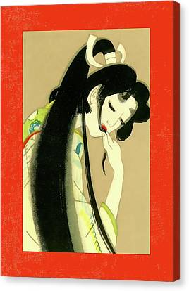 Labelled Canvas Print - Designer Series Japanese Matchbox Label 134 by Carol Leigh