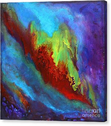 Desire A Vibrant Colorful Abstract Painting With A Glittering Center  Canvas Print