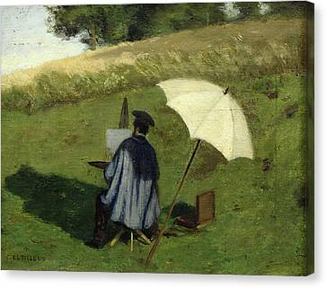 Desire Dubois Painting In The Open Air Canvas Print by Henri Joseph Constant Dutilleux