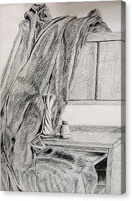 Desk And Curtain Canvas Print by Diana Prout