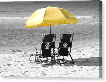 Destin Florida Beach Chairs And Yellow Umbrella Color Splash Black And White Canvas Print by Shawn O'Brien