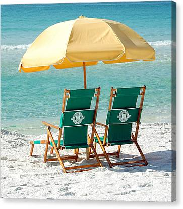 Destin Florida Beach Chairs And Yellow Umbrella Square Format Canvas Print by Shawn O'Brien