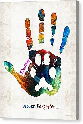 Custom Dog Memorial Rainbow Bridge Paw Print By Sharon Cummings Canvas Print by Sharon Cummings