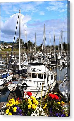 Destiny Sidney Harbor British Columbia Canada Painting Canvas Print by Barbara Snyder