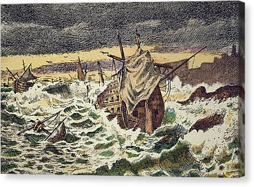 Destruction By Storms Of The Invincible Spanish Armada Canvas Print by Spanish School