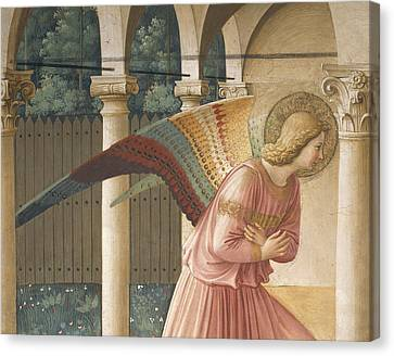 Detail From The Annunciation Showing Archangel Gabriel Canvas Print by Fra Angelico