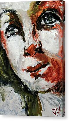 Canvas Print featuring the painting Detail If Acrylic Portrait by Jim Vance