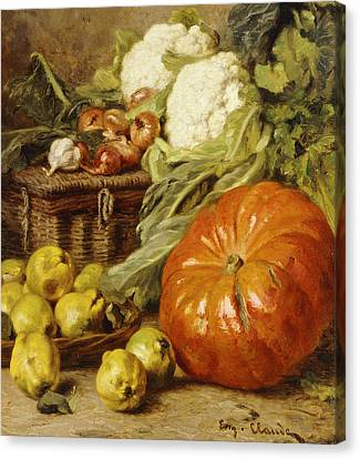 Detail Of A Still Life With A Basket, Pears, Onions, Cauliflowers, Cabbages, Garlic And A Pumpkin Canvas Print by Eugene Claude