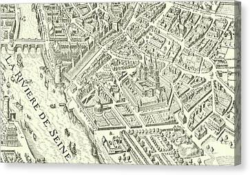 Detail Of A Vintage Map Of Paris Canvas Print by French School