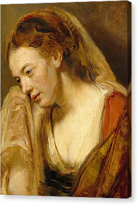 Detail Of A Weeping Woman Canvas Print by Rembrandt