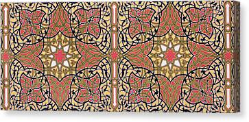 Detail Of Ceiling Arabesques From The Mosque Of El-bordeyny Canvas Print by Emile Prisse d'Avennes