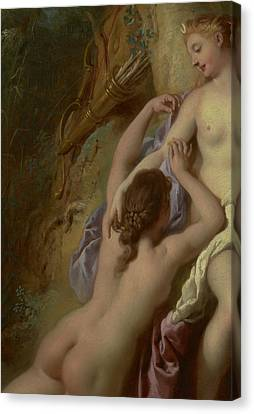 Detail Of Diana And Her Nymphs Bathing Canvas Print by Jean Francois de Troy