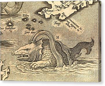 Detail Of Geographical Map Depicting Monstrous Sea Creature Canvas Print