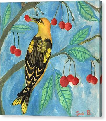 Detail Of Golden Orioles In A Cherry Tree Canvas Print by Sushila Burgess
