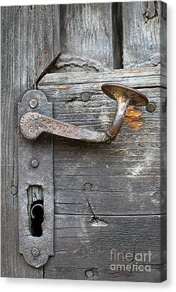 Detail Of Old Door Handle At Buchlov Castle Canvas Print by Michal Boubin