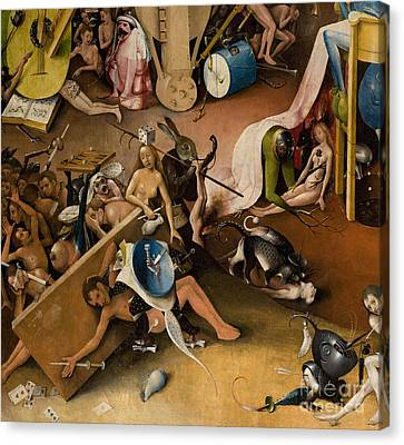 Detail Of Right Panel Showing Hell  The Garden Of Earthly Delights Canvas Print by Hieronymus Bosch