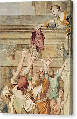 Detail Of Saint Cecilia Distributing Alms Canvas Print by Domenichino