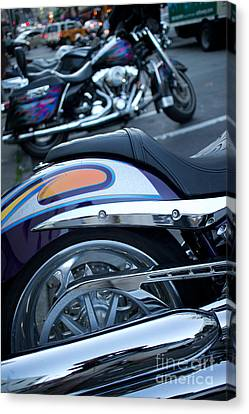 Detail Of Shiny Chrome Tailpipe And Rear Wheel Of Cruiser Style  Canvas Print