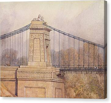 Detail Of The Approved Design For The Clifton Suspension Bridge Canvas Print by Samuel Jackson