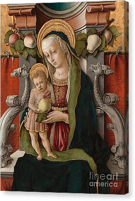 Detail Of The Madonna And Child Enthroned Canvas Print by Carlo Crivelli