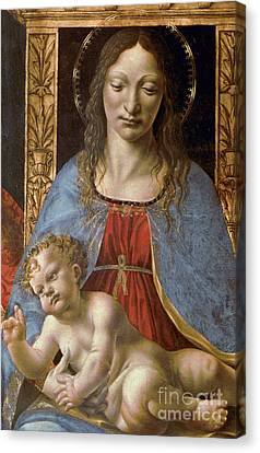 Detail Of The Sforza Altarpiece, Madonna And Child Enthroned Canvas Print by Master of the Pala Sforzesca