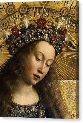 Detail Of The Virgin Mary From The Ghent Altarpiece Canvas Print by Van Eyck