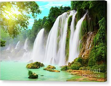 Wet Leaves Canvas Print - Detian Waterfall by MotHaiBaPhoto Prints