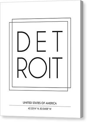 Detroit City Print With Coordinates Canvas Print