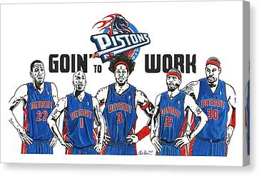 Mr. Basketball Canvas Print - Detroit Goin' To Work Pistons by Chris Brown