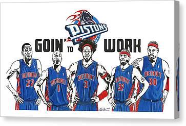 Detroit Goin' To Work Pistons Canvas Print