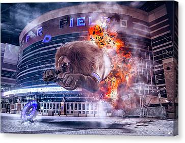 Canvas Print featuring the photograph Detroit Lions At Ford Field 2 by Nicholas Grunas