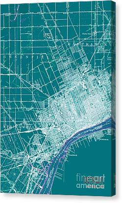 Detroit Michigan 1905 Green Old Map Canvas Print by Pablo Franchi