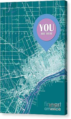 Detroit Michigan 1905 Green Old Map Your Are Here Canvas Print by Pablo Franchi