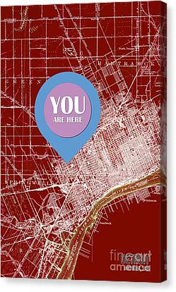 Detroit Michigan 1905 Red Old Map Your Are Here Canvas Print by Pablo Franchi