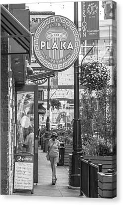 Detroit Plaka In Black And White  Canvas Print by John McGraw