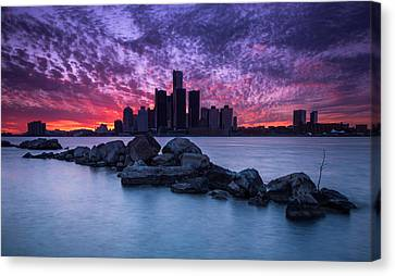 Detroit Skyline Clouds Canvas Print